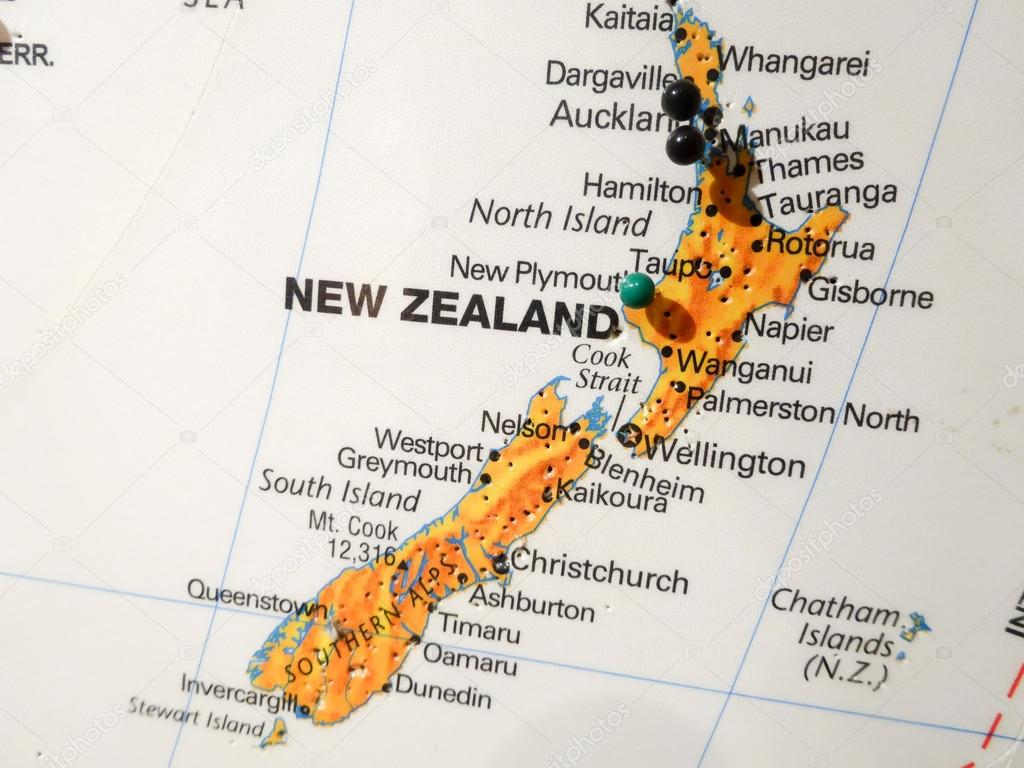 City Map Of New Zealand.City Pin On New Zealand Map Stock Photo C Digidream 65658781