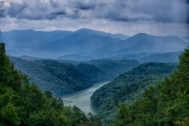 view of Lake Fontana in western North Carolina in the Great Smok