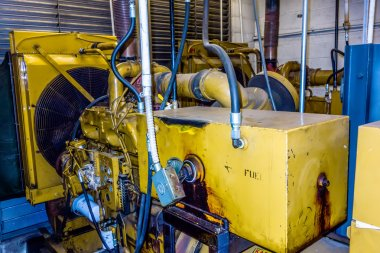 diesel generator unit has a unit mounted radiator and fuel filte