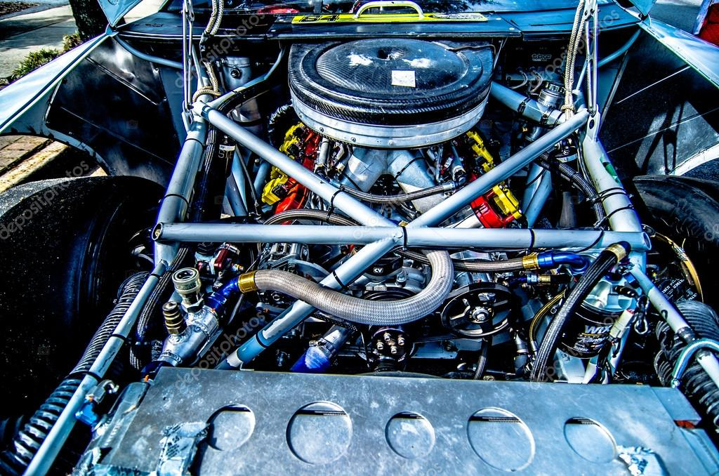 racing car engine and wires under the hood — Stock Photo © digidream ...
