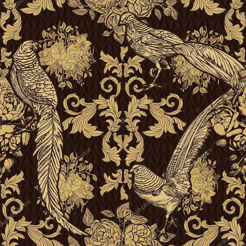 Vintage, Antiken Stil Hintergrund, Mode Nahtlose Muster Mit Vögeln, Fasanen  Auf Gold Dekorative