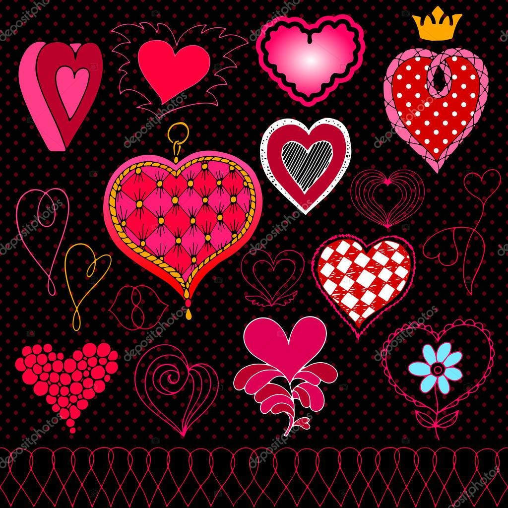 Valentines day in chalkboard style red white and pink beautiful valentines day in chalkboard style red white and pink beautiful drawn hearts love symbols retro set of heart icons photo frames grunge vector layouts buycottarizona Gallery
