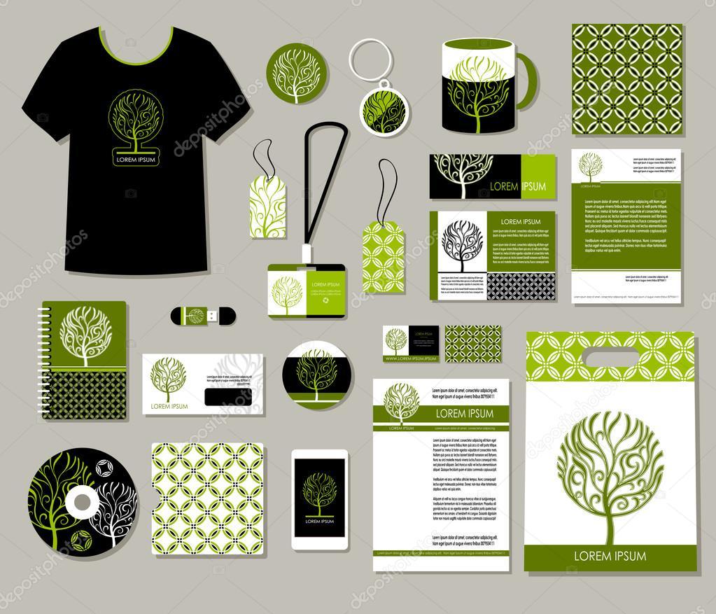 tree logo corporate identity templates design eco business set