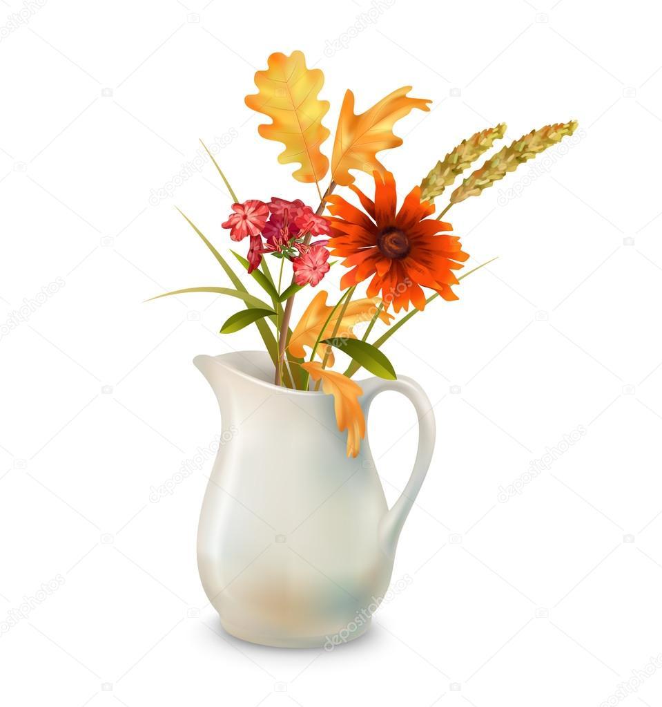 Autumn Flowers In Jug Stock Vector Kostins 124112992