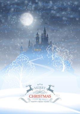 Christmas Winter Castle Moonlight Sky