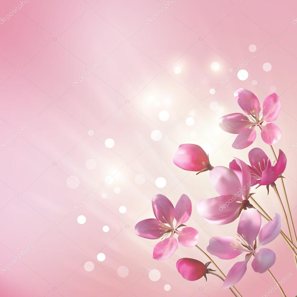 Shining Pink Flowers Background Stock Vector Kostins 56978119