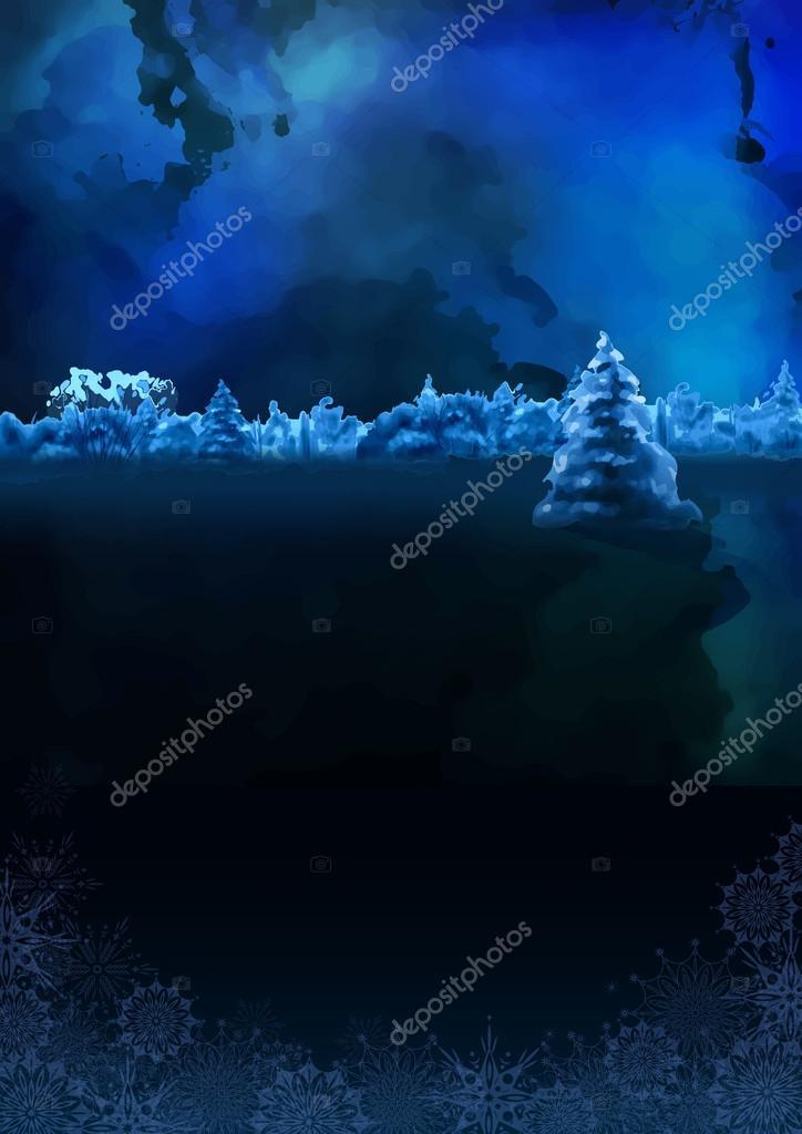 Vector Watercolor Winter Night Landscape
