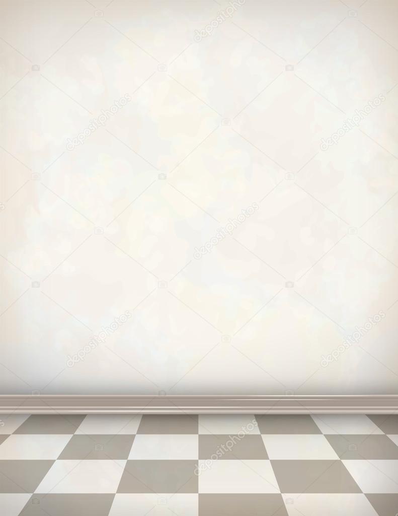 빈 방 흰색 벽 타일 바닥 — 스톡 벡터 © kostins #66599381