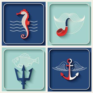 Vector marine theme icons