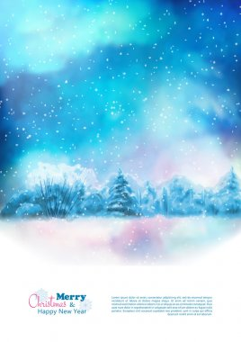 Vector Watercolor Winter Christmas Flyer