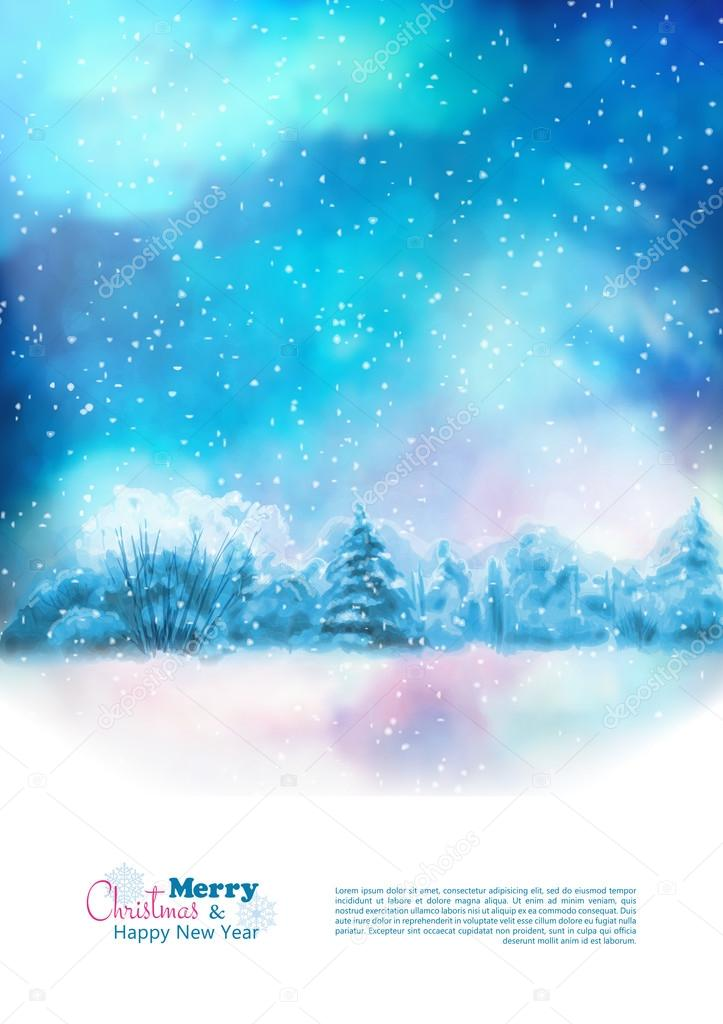 Vector Watercolor Winter Christmas Flyer