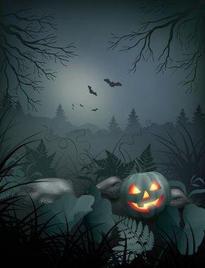 Halloween vector night scene