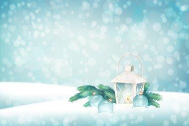 Vector Winter Christmas Scene Background