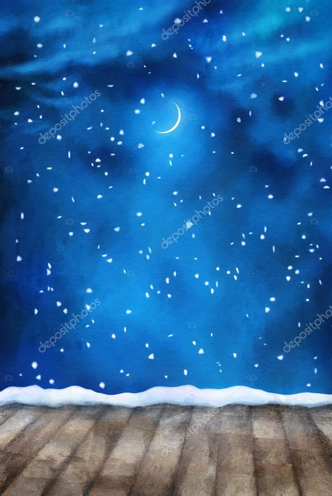 Winter Night Painting Background