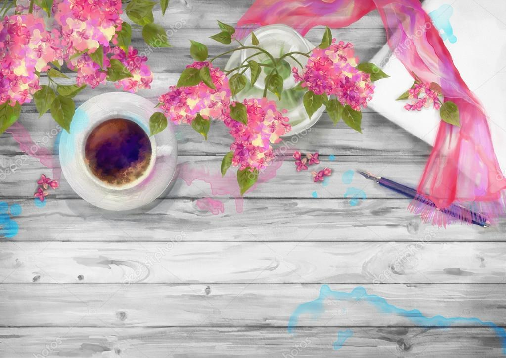 Spring Watercolor Top View