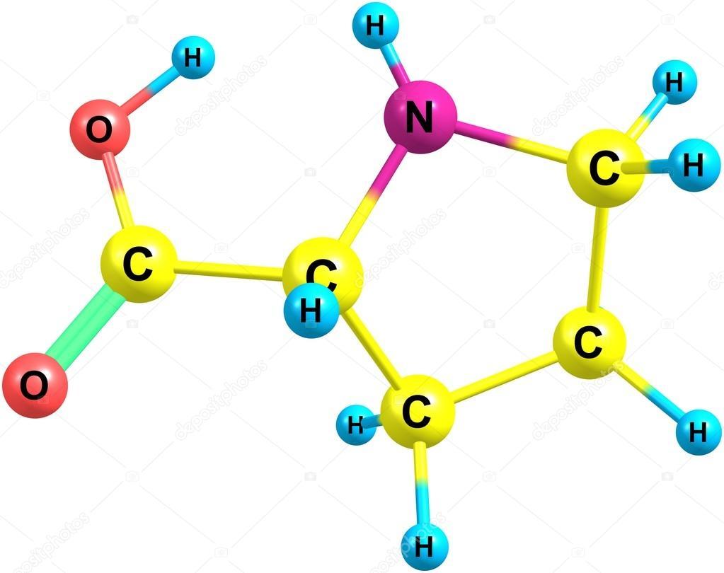 Estructura molecular de la prolina aislado en blanco