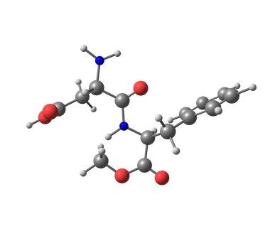 Aspartame molecule isolated on white