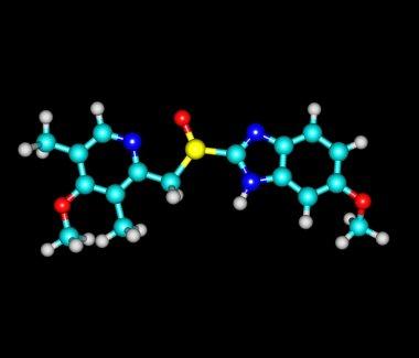 Esomeprazole molecule isolated on black