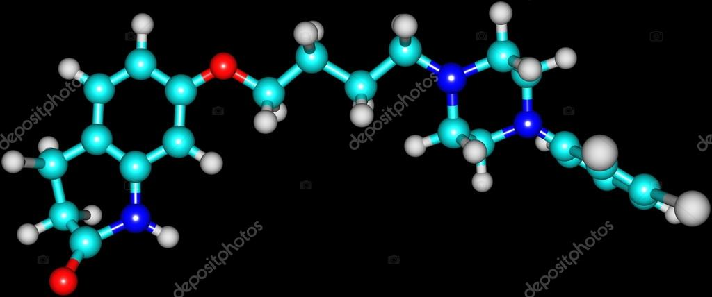 Aripiprazole molecule isolated on black