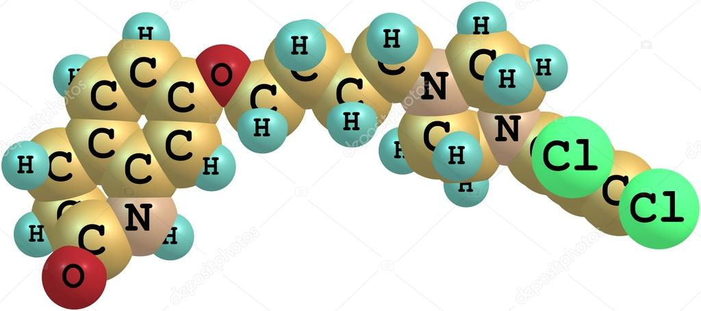 Aripiprazole molecule isolated on white