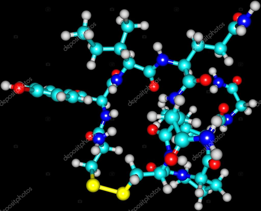 Oxytocin molecule isolated on black