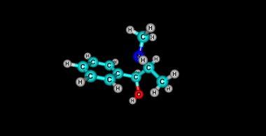 Pseudoephedrine molecular structure isolated on black