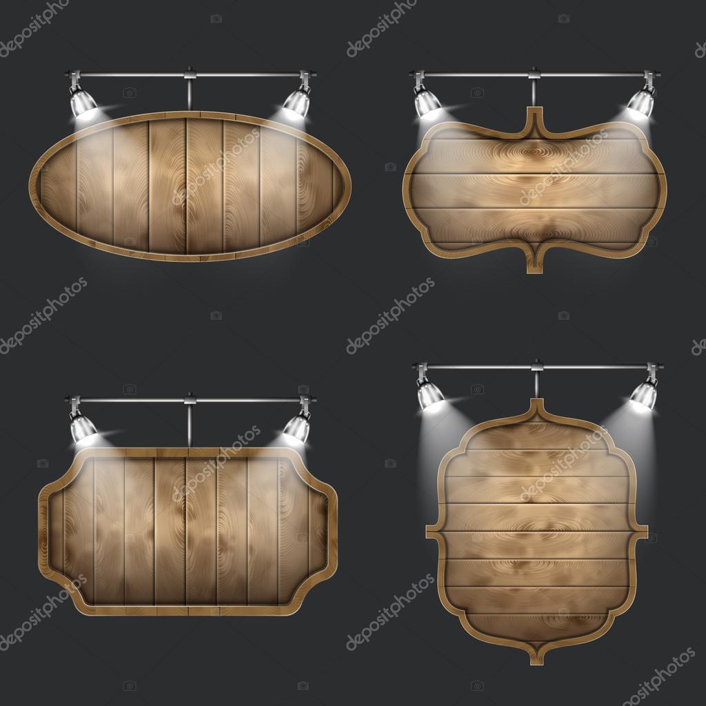 Illuminated Set of Wooden Signboards.