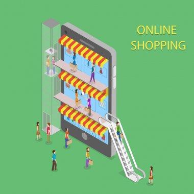 Online Shopping Isometric Concept Illustration.