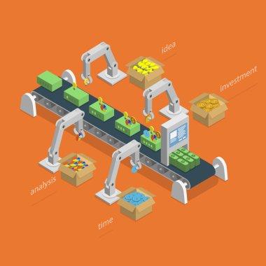 Money Making Process Isometric Concept.