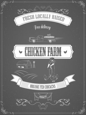 Chicken Farm Vintage Advertisement Vector Poster.