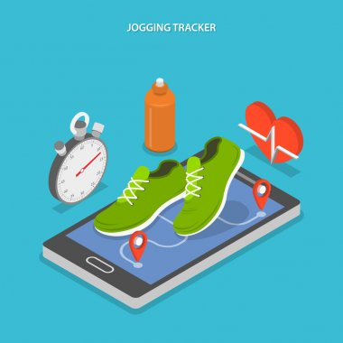Jogging and running flat isometric concept.