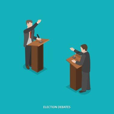 Election debates flat isometric vector.