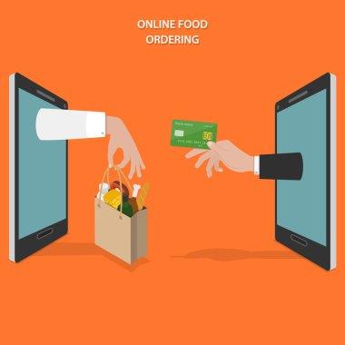 Online food ordering flat vector concept.