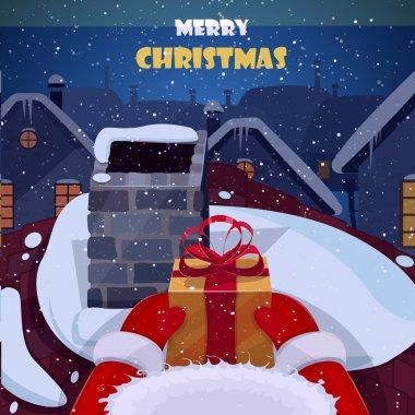 Merry Christmas postcard vector illustration.