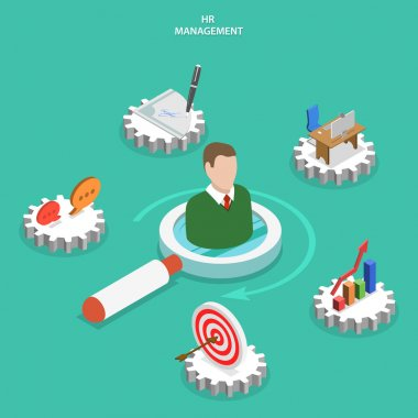 HR management flat isometric vector concept.