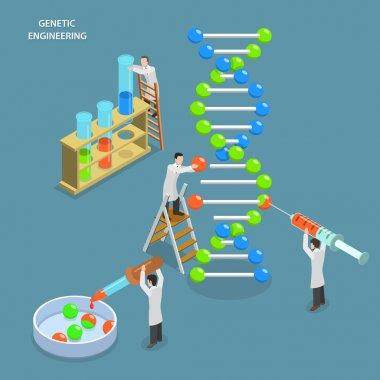 Genetic engineering isometric flat vector concept.