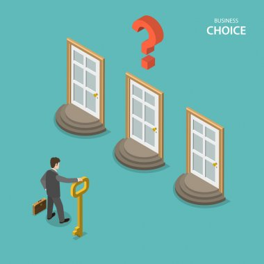 Business choice isometric flat vector concept.