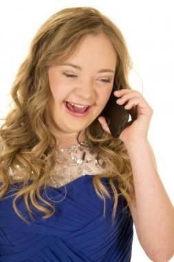 girl blue dress laughing on phone