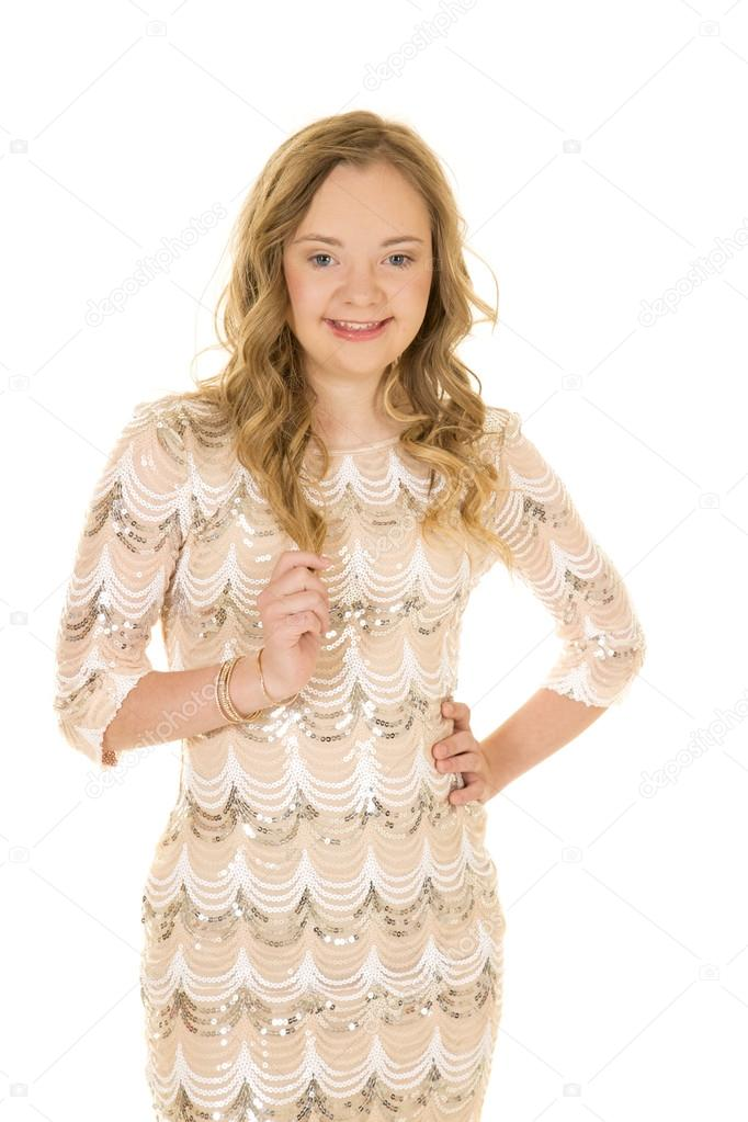 woman in shiny dress with smile