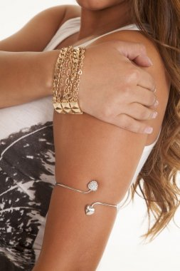 arm band silver bracelet gold