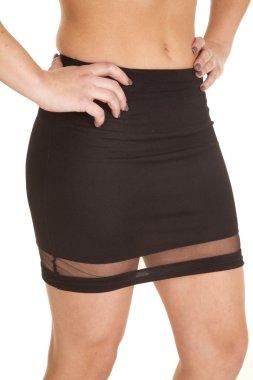 close up short black skirt sheer