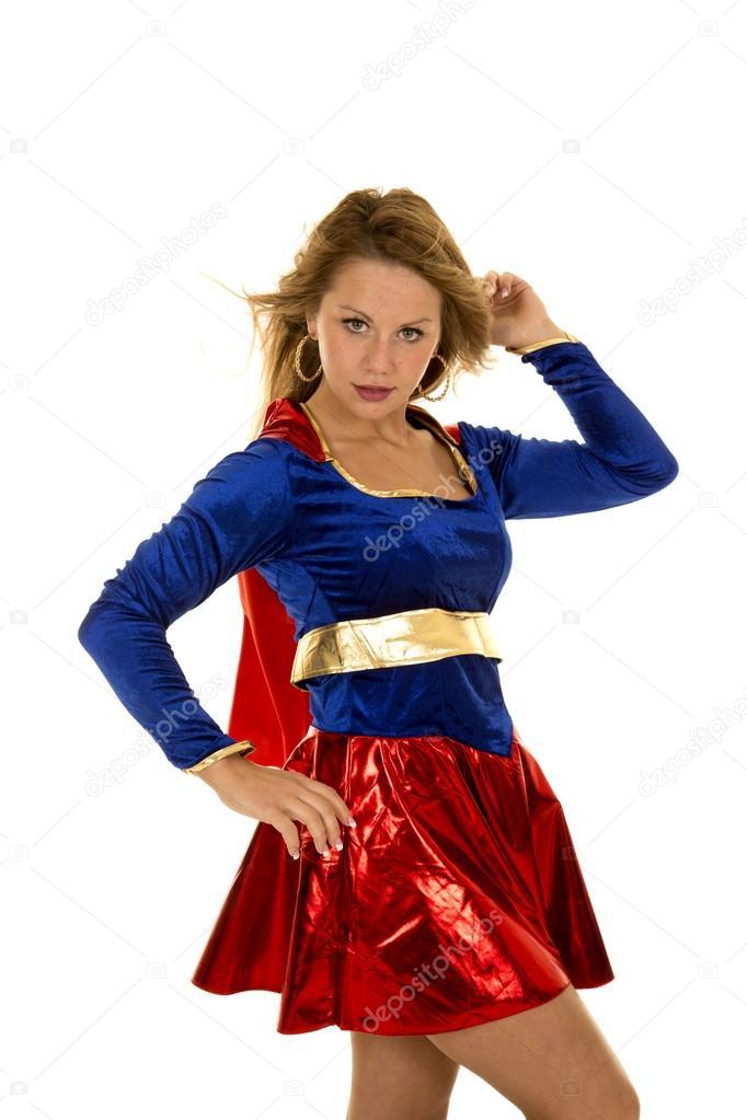 Woman in her super hero costume