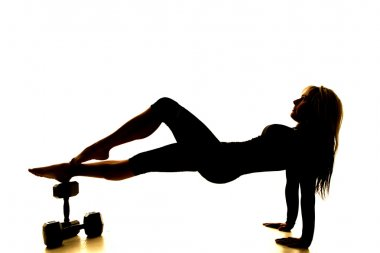 Silhouette fitness woman