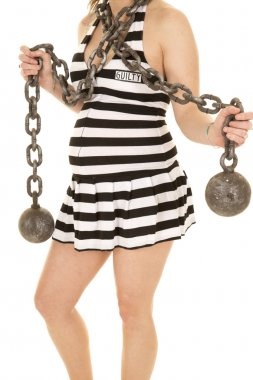 Pregnant woman with chian and prison dress