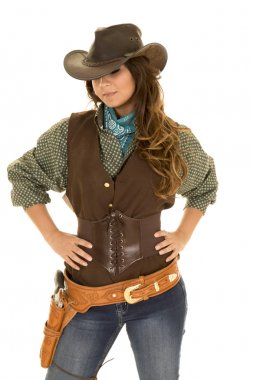 Cowgirl with gun and holster