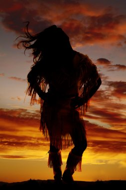 Silhouette of Native American woman