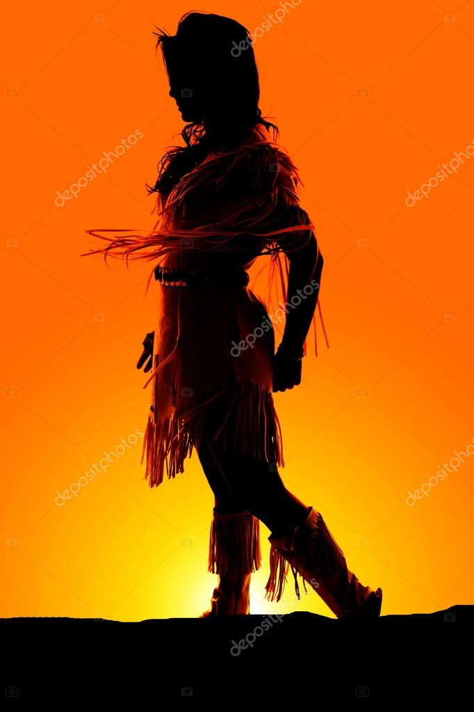 Silhouette Of Native American Woman Stock Photo