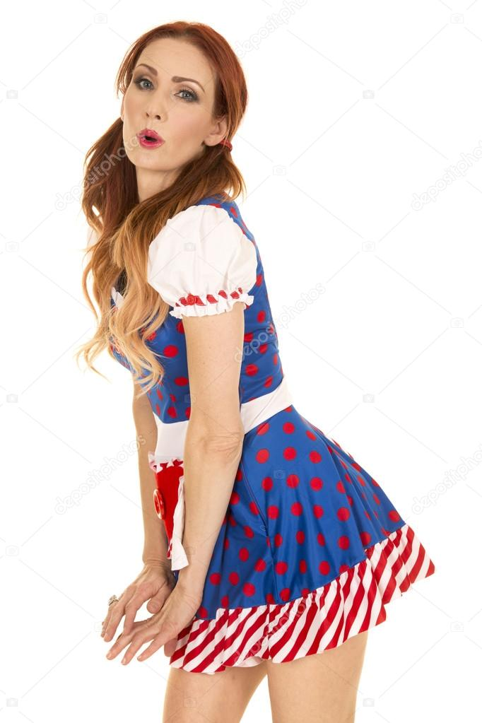 A woman being playful in her Raggedy Ann costume leaning over. u2014 Photo by alanpoulson  sc 1 st  Depositphotos & beautiful woman in Raggedy Ann dress u2014 Stock Photo © alanpoulson ...