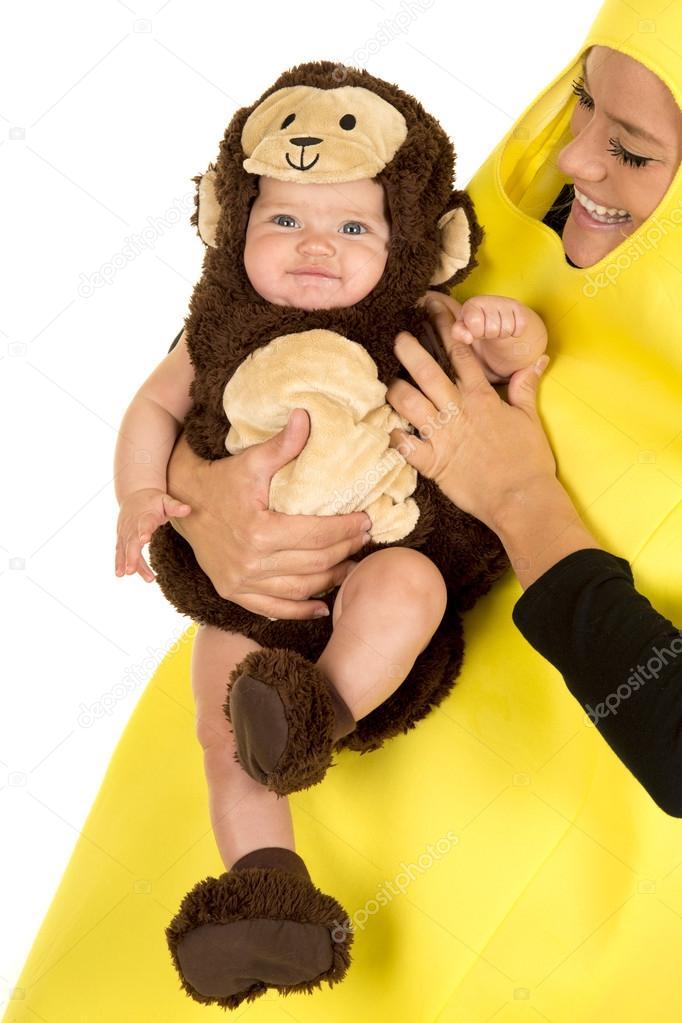 Mom In Banana Costume With Monkey Baby Stock Photo C Alanpoulson
