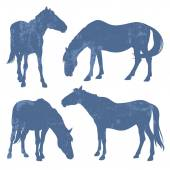 Grunge silhouettes of horses